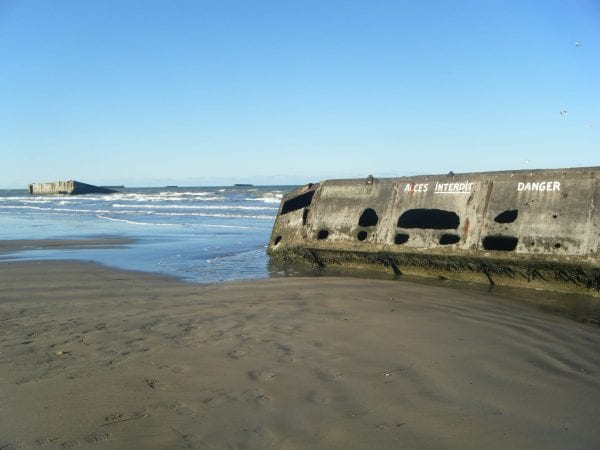 french coastline - ww2 - floating concrete harbour